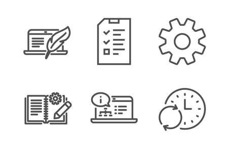 Documentazione di ingegneria, documentazione in linea e set di icone di intervista semplice. Servizio, laptop Copyright e Segnali temporali di aggiornamento. Manuale, ingegneria web. Insieme di scienza. Vettore