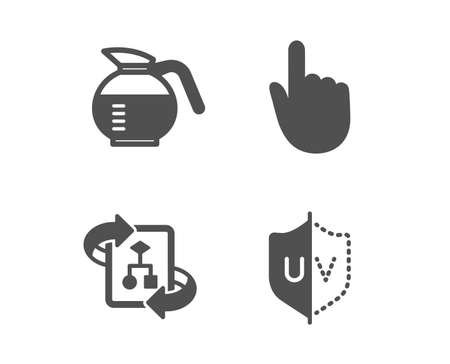 Set of Hand click, Technical algorithm and Coffeepot icons. Uv protection sign. Location pointer, Project doc, Brewed coffee. Ultraviolet.  Classic design hand click icon. Flat design. Vector