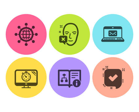 Face declined, International globe and E-mail icons simple set. Seo timer, Technical algorithm and Confirmed signs. Identification error, World networking. Business set. Flat face declined icon