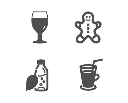 Set of Gingerbread man, Water bottle and Beer glass icons. Cocktail sign. Christmas cookie, Mint leaf drink, Brewery beverage. Fresh beverage.  Classic design gingerbread man icon. Flat design. Vector