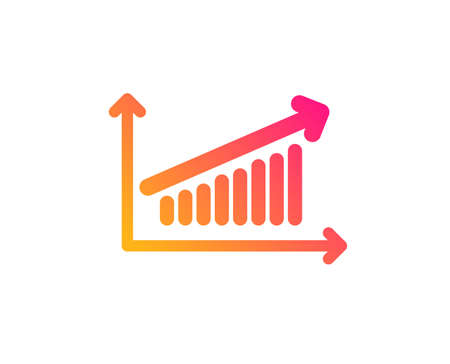 Chart icon. Report graph or Sales growth sign. Analysis and Statistics data symbol. Classic flat style. Gradient chart icon. Vector