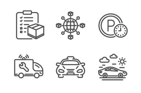 Parking time, Parcel checklist and Logistics network icons simple set. Taxi, Car service and Car travel signs. Park clock, Logistics check. Transportation set. Line parking time icon. Editable stroke Illustration