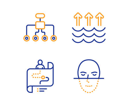 Restructuring, Evaporation and Journey path icons simple set. Face recognition sign. Delegate, Global warming, Project process. Faces biometrics. Science set. Linear restructuring icon. Vector