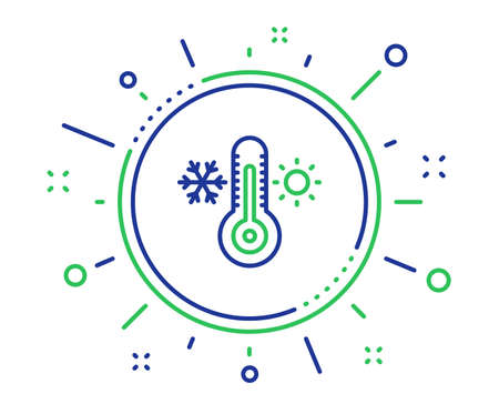 Thermometer line icon. Cold and warm thermostat sign. Winter, summer symbol. Snowflake and sun. Quality design elements. Technology thermometer button. Editable stroke. Vector