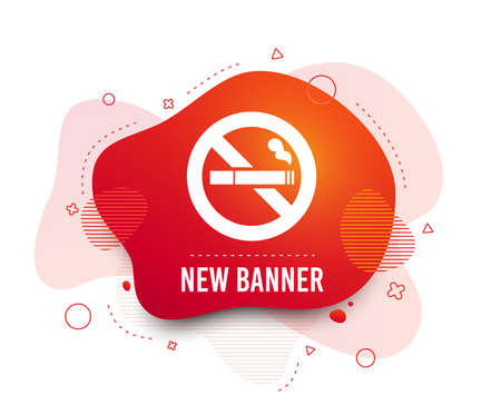Fluid badge. No Smoking sign icon. Cigarette symbol. Abstract shape. Gradient smoking icon. Flyer liquid banner. Vector
