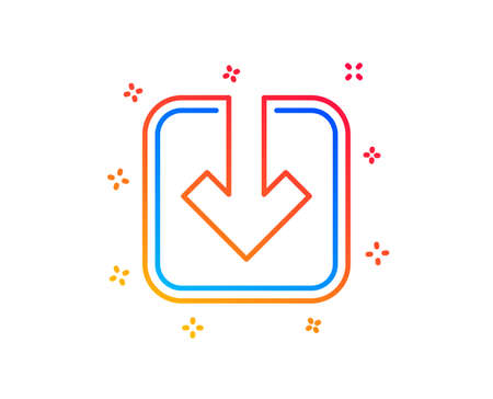 Load document line icon. Download arrowhead symbol. Direction or pointer sign. Gradient design elements. Linear load document icon. Random shapes. Vector  イラスト・ベクター素材