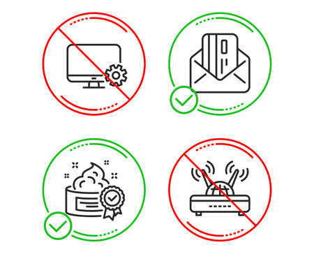 Do or Stop. Credit card, Monitor settings and Cream icons simple set. Illustration