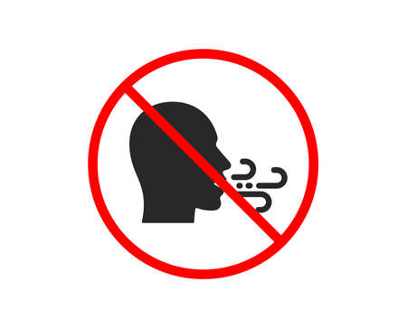 No or Stop. Breathing icon. Breath difficulties sign. Respiration problems symbol. Prohibited ban stop symbol. No breathing exercise icon. Vector Illustration
