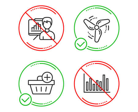 Do or Stop. Wind energy, Add purchase and Presentation board icons simple set. Bar diagram sign. Ventilator, Shopping order, Growth chart. Statistics infochart. Finance set. Line wind energy do icon