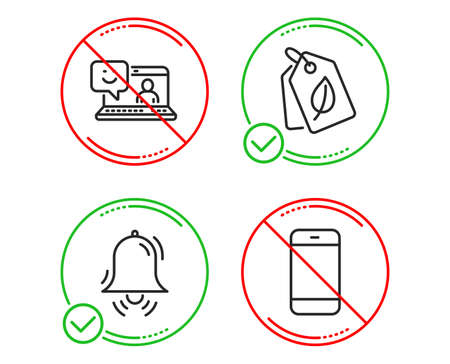Do or Stop. Smile, Bio tags and Clock bell icons simple set. Smartphone sign. Laptop feedback, Leaf, Alarm. Cellphone or phone. Business set. Line smile do icon. Prohibited ban stop. Good or bad
