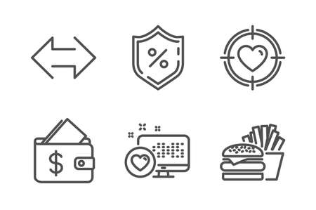 Heart, Wallet and Loan percent icons simple set. Sync, Valentine target and Burger signs. Social media, Affordability. Line heart icon. Editable stroke. Vector Banque d'images - 120948907