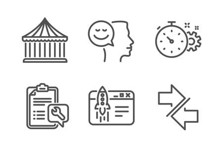 Carousels, Cogwheel timer and Start business icons simple set. Spanner, Good mood and Synchronize signs. Attraction park, Engineering tool. Technology set. Line carousels icon. Editable stroke. Vector 일러스트