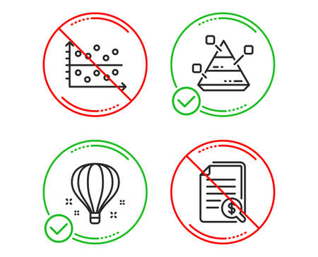 Do or Stop. Dot plot, Air balloon and Pyramid chart icons simple set. Financial documents sign. Presentation graph, Sky travelling, Report analysis. Check docs. Education set. Line dot plot do icon Ilustração