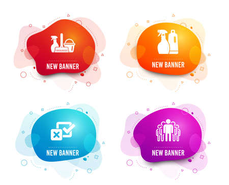 Liquid badges. Set of Household service, Shampoo and spray and Checkbox icons. Group sign. Cleaning equipment, Washing liquids, Survey choice. Managers.  Gradient household service icon. Vector Illustration
