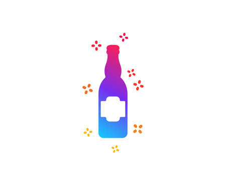 Beer bottle icon. Pub Craft beer sign. Brewery beverage symbol. Dynamic shapes. Gradient design beer bottle icon. Classic style. Vector Illustration