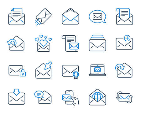 Mail message line icons. Newsletter, Email document, Correspondence icons. Received mail, Secure message and Web letter. Post office newsletter, Send email document, private communication. Vector Illustration