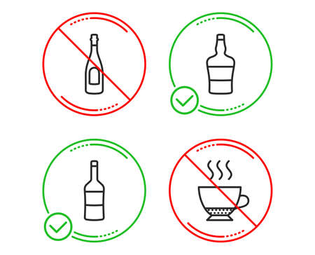 Do or Stop. Wine, Champagne and Scotch bottle icons simple set. Espresso sign. Merlot bottle, Celebration drink, Brandy alcohol. Hot drink. Food and drink set. Line wine do icon. Prohibited ban stop Illustration