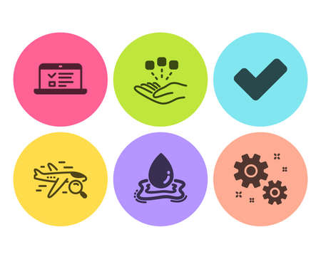 Water splash, Web lectures and Search flight icons simple set. Tick, Consolidation and Work signs. Aqua drop, Online test. Flat water splash icon. Circle button. Vector Stock Illustratie