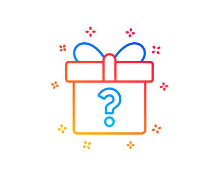 Gift box with Question mark line icon. Present or Sale sign. Birthday Shopping symbol. Package in Gift Wrap. Gradient design elements. Linear secret gift icon. Random shapes. Vector 版權商用圖片 - 123562432