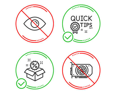Do or Stop. Sale, Eye and Quick tips icons simple set. Gpu sign. Discount, View or vision, Helpful tricks. Graphic card. Line sale do icon. Prohibited ban stop. Good or bad. Vector
