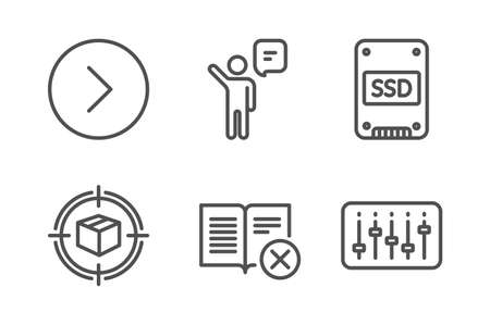 Parcel tracking, Agent and Forward icons simple set. Ssd, Reject book and Dj controller signs. Box in target, Business person. Line parcel tracking icon. Editable stroke. Vector
