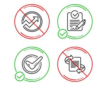 Do or Stop. Confirmed, Audit and Rfp icons simple set. Marketing sign. Accepted message, Arrow graph, Request for proposal. Article. Education set. Line confirmed do icon. Prohibited ban stop. Vector