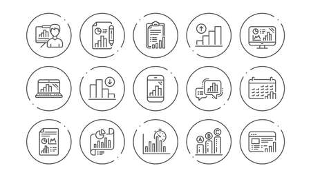 Graph line icons. Charts and graphs, Presentation and Report. Analytics linear icon set. Line buttons with icon. Editable stroke. Vector