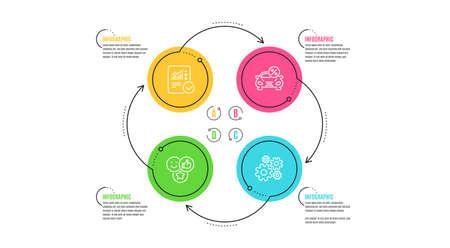 Car leasing, Like and Checked calculation icons simple set. Infographic timeline. Cogwheel sign. Transport discount, Social media likes, Statistical data. Engineering tool. Technology set. Vector Ilustrace