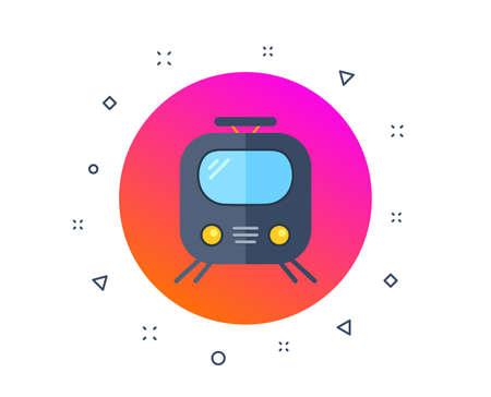 Icône de chemin de fer. Signe de train ou de gare ferroviaire. Symbole de transport public. Transport en métro. Métro souterrain. Formes dynamiques aléatoires. Bouton de transport ferroviaire dégradé. Vecteur