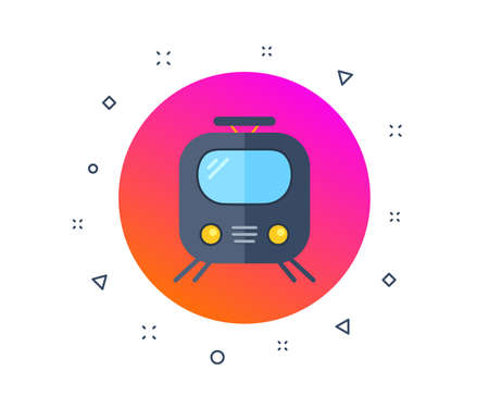 Railway icon. Train or rail station sign. Public transportation symbol. Subway train transport. Metro underground. Random dynamic shapes. Gradient railway transport button. Vector Illustration