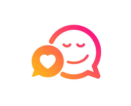 Comic speech bubble with Smile icon. Chat emotion with heart sign. Classic flat style. Gradient dating icon. Vector Illustration