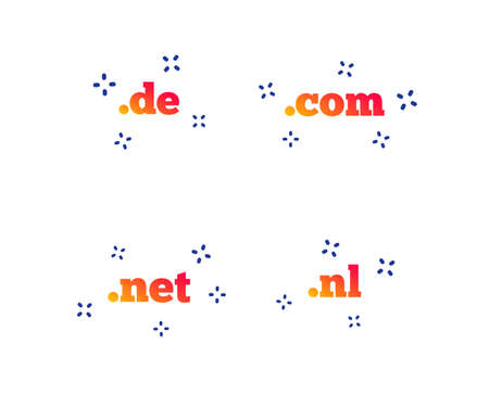 Top-level internet domain icons. De, Com, Net and Nl symbols. Unique national DNS names. Random dynamic shapes. Gradient domain icon. Vector