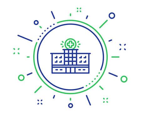 Hospital building line icon. Medical help sign. Quality design elements. Technology hospital building button. Editable stroke. Vector Standard-Bild - 123562512