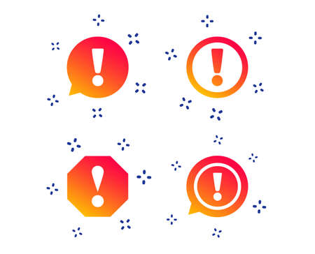 Attention icons. Exclamation speech bubble symbols. Caution signs. Random dynamic shapes. Gradient exclamation icon. Vector