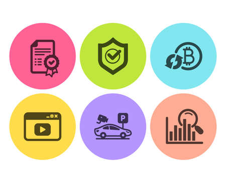 Refresh bitcoin, Certificate and Video content icons simple set. Parking security, Approved shield and Search signs. Update cryptocurrency, Verified document. Business set. Flat refresh bitcoin icon Illustration