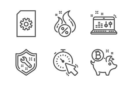 Hot loan, Sound check and Timer icons simple set. File management, Spanner and Bitcoin coin signs. Discount offer, Dj controller. Technology set. Line hot loan icon. Editable stroke. Vector