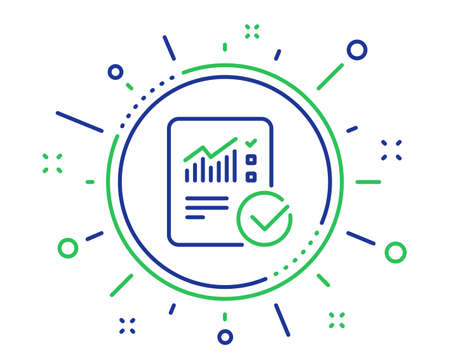 Checklist document line icon. Analysis Chart or Sales growth report sign. Statistics data symbol. Quality design elements. Technology checked calculation button. Editable stroke. Vector