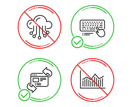 Do or Stop. Refresh website, Cloud storage and Computer keyboard icons simple set. Money diagram sign. Update internet, Data service, Pc device. Currency diagram. Science set. Vector