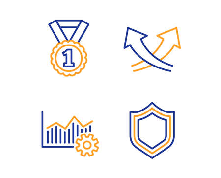 Best rank, Intersection arrows and Operational excellence icons simple set. Security sign. Success medal, Exchange, Corporate business. Protection shield. Business set. Linear best rank icon. Vector Ilustração