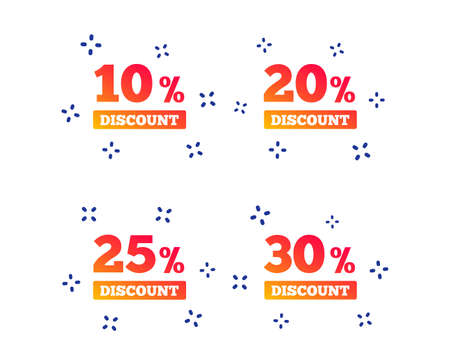 Sale discount icons. Special offer price signs. 10, 20, 25 and 30 percent off reduction symbols. Random dynamic shapes. Gradient sale icon. Vector