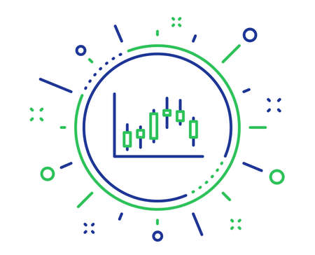 Candlestick chart line icon. Financial graph sign. Stock exchange symbol. Business investment. Quality design elements. Technology candlestick graph button. Editable stroke. Vector Zdjęcie Seryjne - 123562532