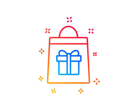 Shopping bag with Gift box line icon. Present or Sale sign. Birthday Shopping symbol. Package in Gift Wrap. Gradient design elements. Linear holidays shopping icon. Random shapes. Vector