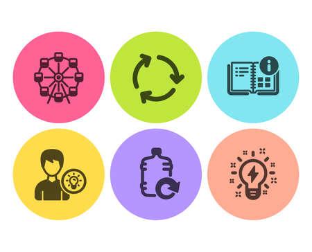Idée de personne, grande roue et ensemble simple d'icônes de recyclage. Remplir l'eau, les informations sur les instructions et les panneaux d'inspiration. Lampe à énergie, Parc d'attraction. Ensemble d'affaires. Icône d'idée de personne plate. Bouton cercle. Vecteur