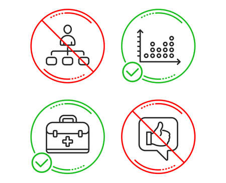 Do or Stop. Management, Dot plot and First aid icons simple set. Like sign. Agent, Presentation graph, Medicine case. Thumbs up. Business set. Line management do icon. Prohibited ban stop. Good or bad