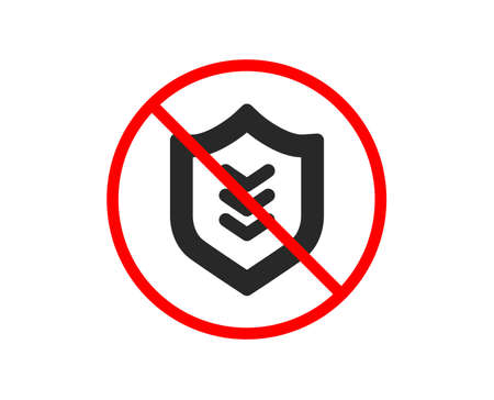 No or Stop. Shield icon. Protection symbol. Business security sign. Prohibited ban stop symbol. No shield icon. Vector