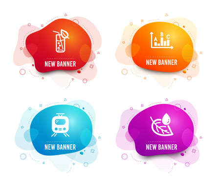 Liquid badges. Set of Train, Water glass and Survey results icons. Leaf dew sign. Tram, Soda drink, Best answer. Water drop.  Gradient train icon. Flyer fluid design. Abstract shapes. Vector