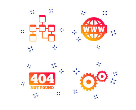 Website database icon. Internet globe and gear signs. 404 page not found symbol. Under construction. Random dynamic shapes. Gradient database icon. Vector Illustration