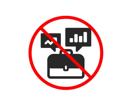 No or Stop. Business portfolio with Growth charts icon. Job Interview sign. Prohibited ban stop symbol. No business portfolio icon. Vector Иллюстрация