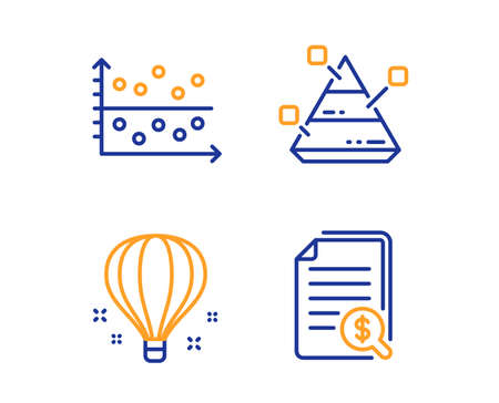 Dot plot, Air balloon and Pyramid chart icons simple set. Financial documents sign. Presentation graph, Sky travelling, Report analysis. Check docs. Education set. Linear dot plot icon. Vector Ilustrace