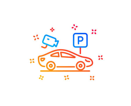 Parking with video monitoring line icon. Car park sign. Transport place symbol. Gradient design elements. Linear parking security icon. Random shapes. Vector